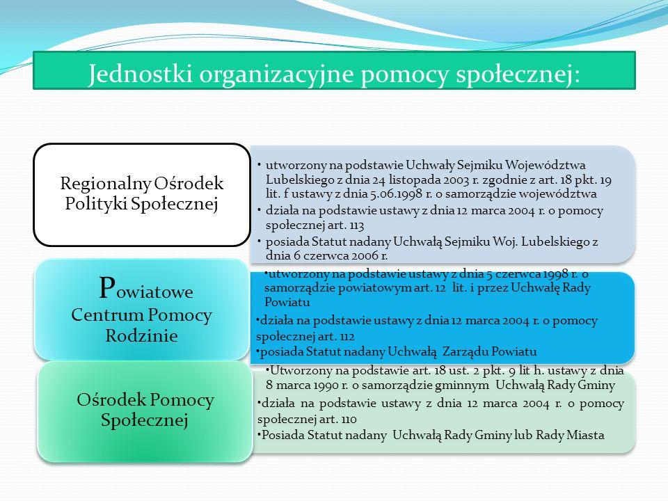 Jednostki organizacyjne pomocy społecznej: utworzony na podstawie Uchwały Sejmiku Województwa Lubelskiego z dnia 24 listopada 2003 r. zgodnie z art. 1