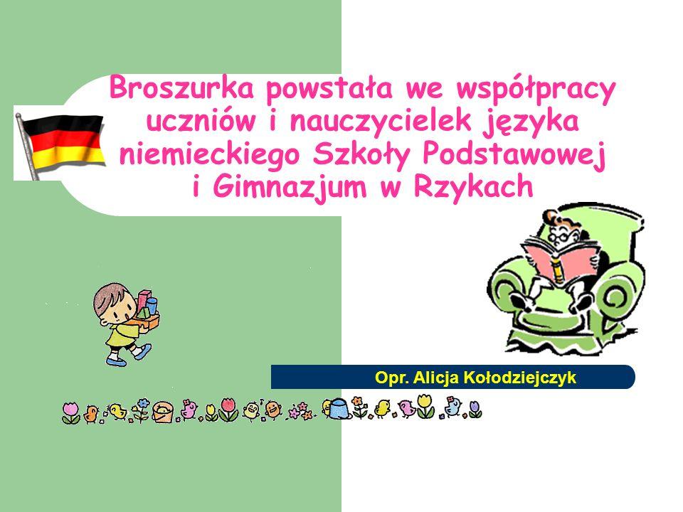 Broszurka powstała we współpracy uczniów i nauczycielek języka niemieckiego Szkoły Podstawowej i Gimnazjum w Rzykach Opr.