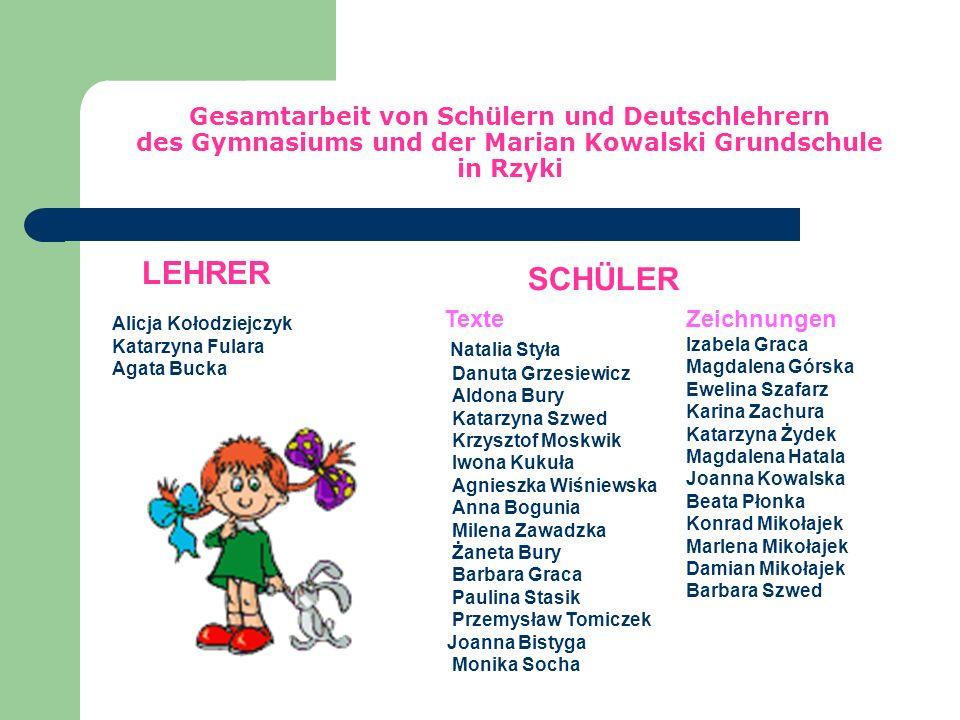 Broszurka powstała we współpracy uczniów i nauczycielek języka niemieckiego Szkoły Podstawowej i Gimnazjum w Rzykach Opr. Alicja Kołodziejczyk