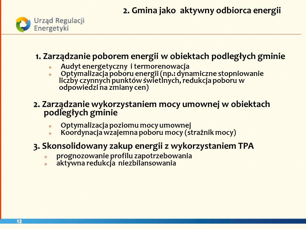 12 1. 1. Zarządzanie poborem energii w obiektach podległych gminie 3.
