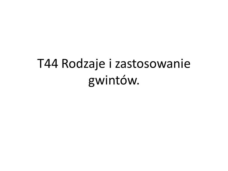 T44 Rodzaje i zastosowanie gwintów.