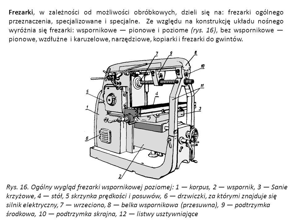 Frezarki, w zależności od możliwości obróbkowych, dzieli się na: frezarki ogólnego przeznaczenia, specjalizowane i specjalne. Ze względu na konstrukcj