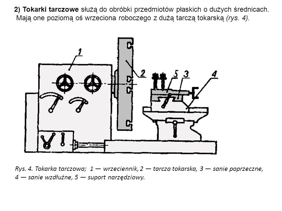 2) Tokarki tarczowe służą do obróbki przedmiotów płaskich o dużych średnicach. Mają one poziomą oś wrzeciona roboczego z dużą tarczą tokarską (rys. 4)