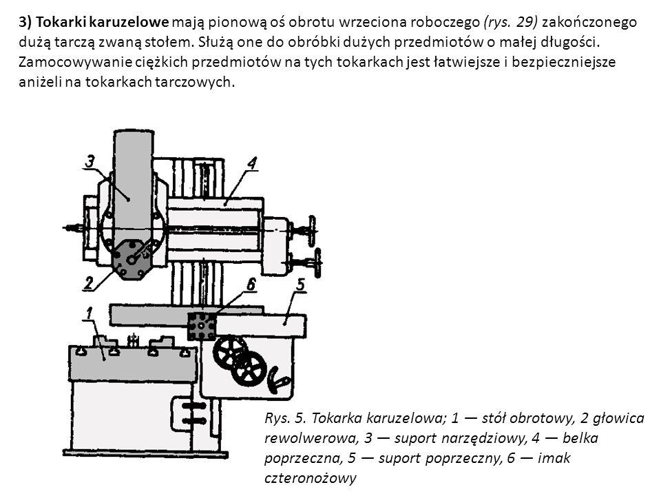 3) Tokarki karuzelowe mają pionową oś obrotu wrzeciona roboczego (rys. 29) zakończonego dużą tarczą zwaną stołem. Służą one do obróbki dużych przedmio