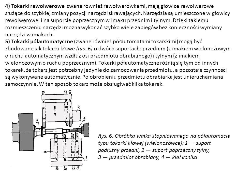 4) Tokarki rewolwerowe zwane również rewolwerówkami, mają głowice rewolwerowe służące do szybkiej zmiany pozycji narzędzi skrawających. Narzędzia są u