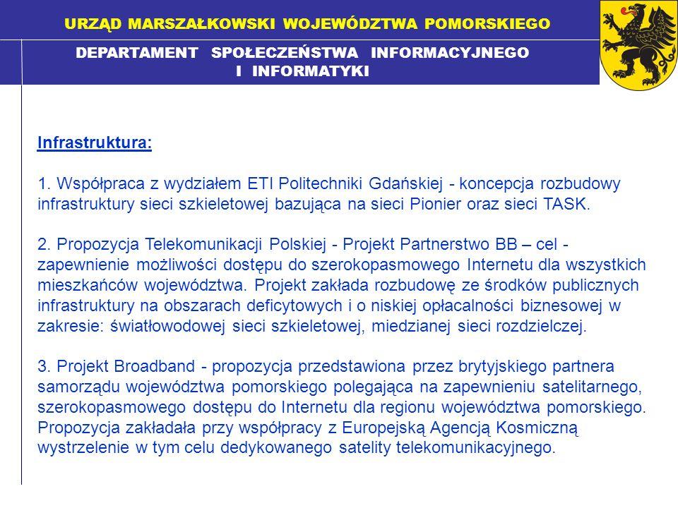 DEPARTAMENT SPOŁECZEŃSTWA INFORMACYJNEGO I INFORMATYKI URZĄD MARSZAŁKOWSKI WOJEWÓDZTWA POMORSKIEGO Infrastruktura: 1. Współpraca z wydziałem ETI Polit