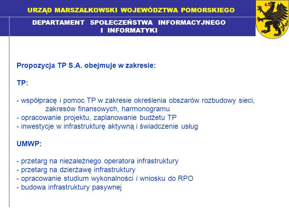 DEPARTAMENT SPOŁECZEŃSTWA INFORMACYJNEGO I INFORMATYKI URZĄD MARSZAŁKOWSKI WOJEWÓDZTWA POMORSKIEGO Propozycja TP S.A. obejmuje w zakresie: TP: - współ