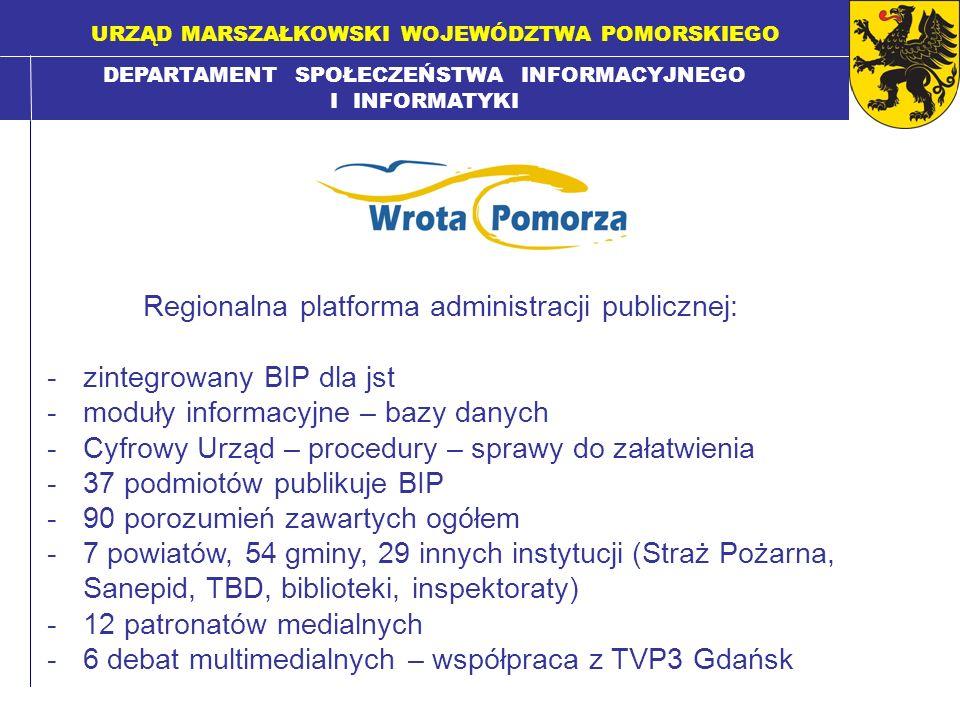 DEPARTAMENT SPOŁECZEŃSTWA INFORMACYJNEGO I INFORMATYKI URZĄD MARSZAŁKOWSKI WOJEWÓDZTWA POMORSKIEGO Regionalna platforma administracji publicznej: -zin