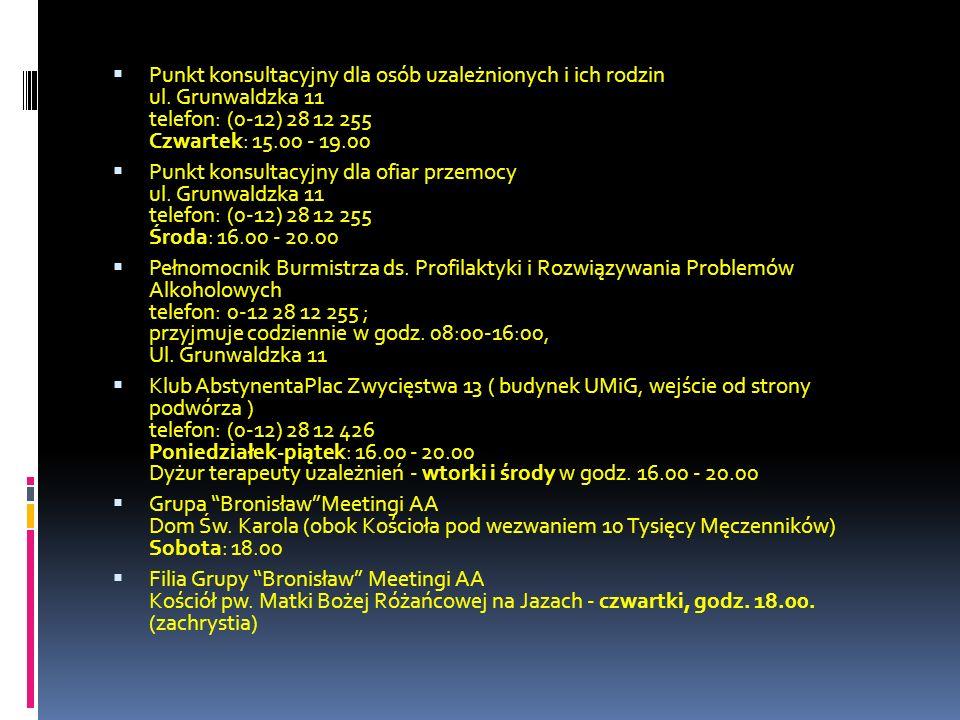 Punkt konsultacyjny dla osób uzależnionych i ich rodzin ul. Grunwaldzka 11 telefon: (0-12) 28 12 255 Czwartek: 15.00 - 19.00 Punkt konsultacyjny dla o