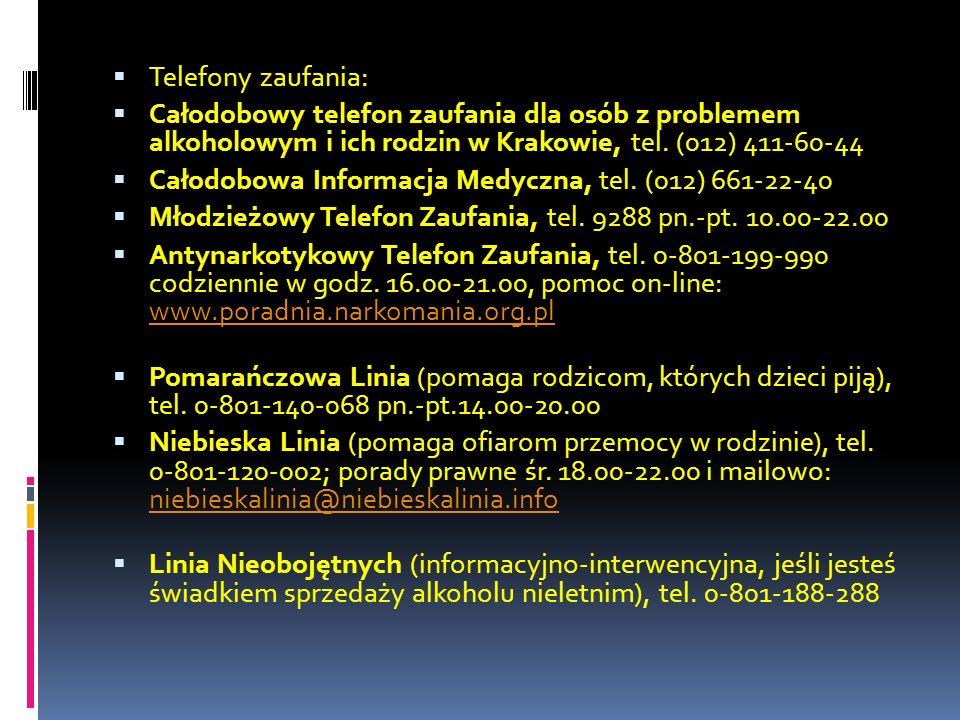 Telefony zaufania: Całodobowy telefon zaufania dla osób z problemem alkoholowym i ich rodzin w Krakowie, tel. (012) 411-60-44 Całodobowa Informacja Me
