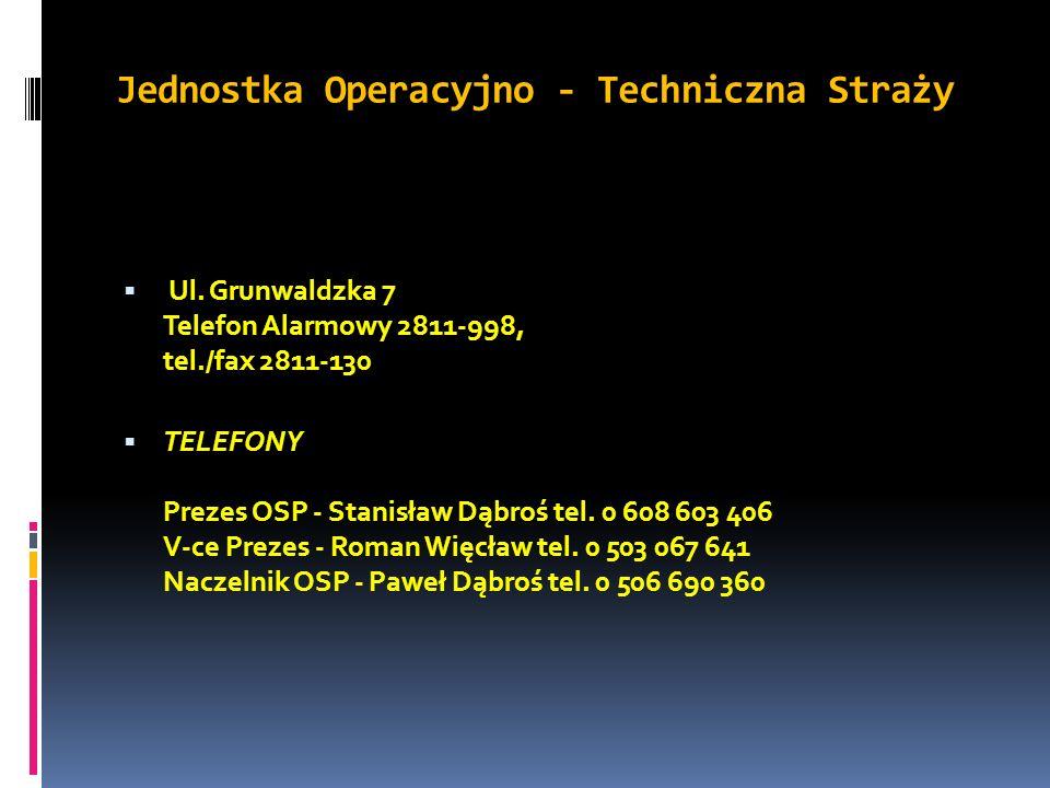 Jednostka Operacyjno - Techniczna Straży Ul. Grunwaldzka 7 Telefon Alarmowy 2811-998, tel./fax 2811-130 TELEFONY Prezes OSP - Stanisław Dąbroś tel. 0