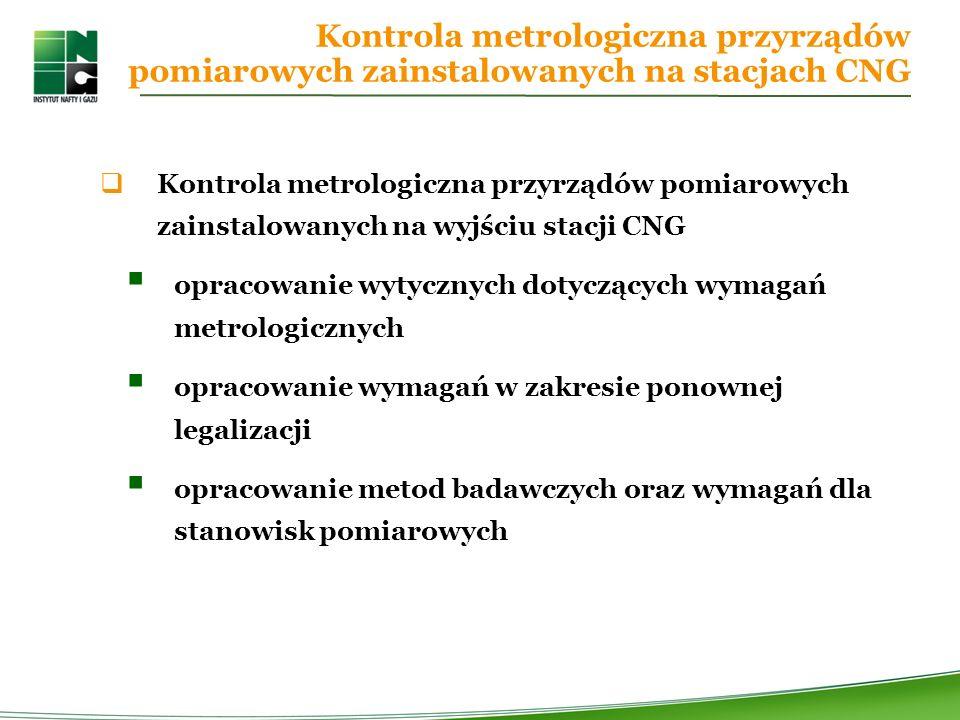 Kontrola metrologiczna przyrządów pomiarowych zainstalowanych na stacjach CNG Kontrola metrologiczna przyrządów pomiarowych zainstalowanych na wyjściu stacji CNG opracowanie wytycznych dotyczących wymagań metrologicznych opracowanie wymagań w zakresie ponownej legalizacji opracowanie metod badawczych oraz wymagań dla stanowisk pomiarowych