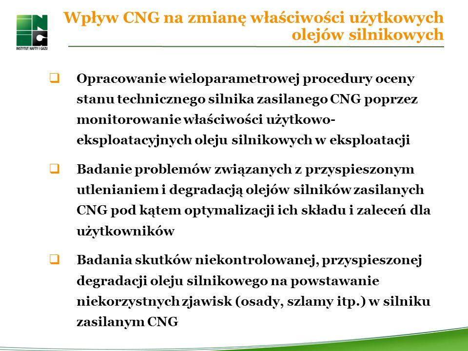 Wpływ CNG na zmianę właściwości użytkowych olejów silnikowych Opracowanie wieloparametrowej procedury oceny stanu technicznego silnika zasilanego CNG poprzez monitorowanie właściwości użytkowo- eksploatacyjnych oleju silnikowych w eksploatacji Badanie problemów związanych z przyspieszonym utlenianiem i degradacją olejów silników zasilanych CNG pod kątem optymalizacji ich składu i zaleceń dla użytkowników Badania skutków niekontrolowanej, przyspieszonej degradacji oleju silnikowego na powstawanie niekorzystnych zjawisk (osady, szlamy itp.) w silniku zasilanym CNG