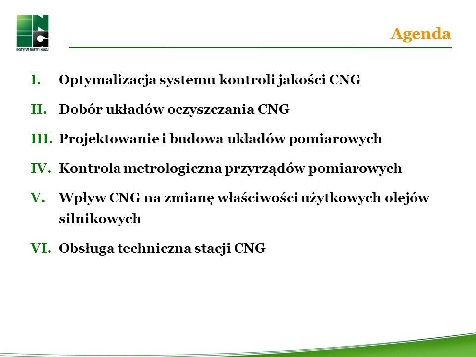 Agenda I.Optymalizacja systemu kontroli jakości CNG II.Dobór układów oczyszczania CNG III.Projektowanie i budowa układów pomiarowych IV.Kontrola metrologiczna przyrządów pomiarowych V.Wpływ CNG na zmianę właściwości użytkowych olejów silnikowych VI.Obsługa techniczna stacji CNG
