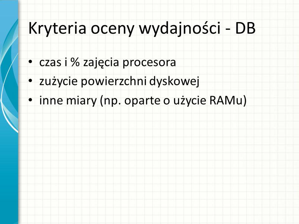 Kryteria oceny wydajności - DB czas i % zajęcia procesora zużycie powierzchni dyskowej inne miary (np. oparte o użycie RAMu)
