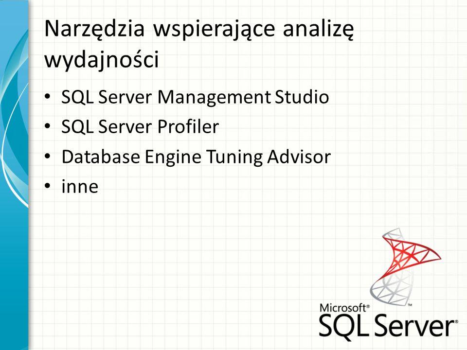 Narzędzia wspierające analizę wydajności SQL Server Management Studio SQL Server Profiler Database Engine Tuning Advisor inne