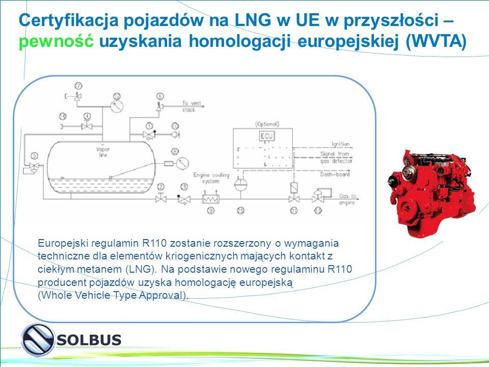 10 Certyfikacja pojazdów na LNG w UE w przyszłości – pewność uzyskania homologacji europejskiej (WVTA) Europejski regulamin R110 zostanie rozszerzony o wymagania techniczne dla elementów kriogenicznych mających kontakt z ciekłym metanem (LNG).