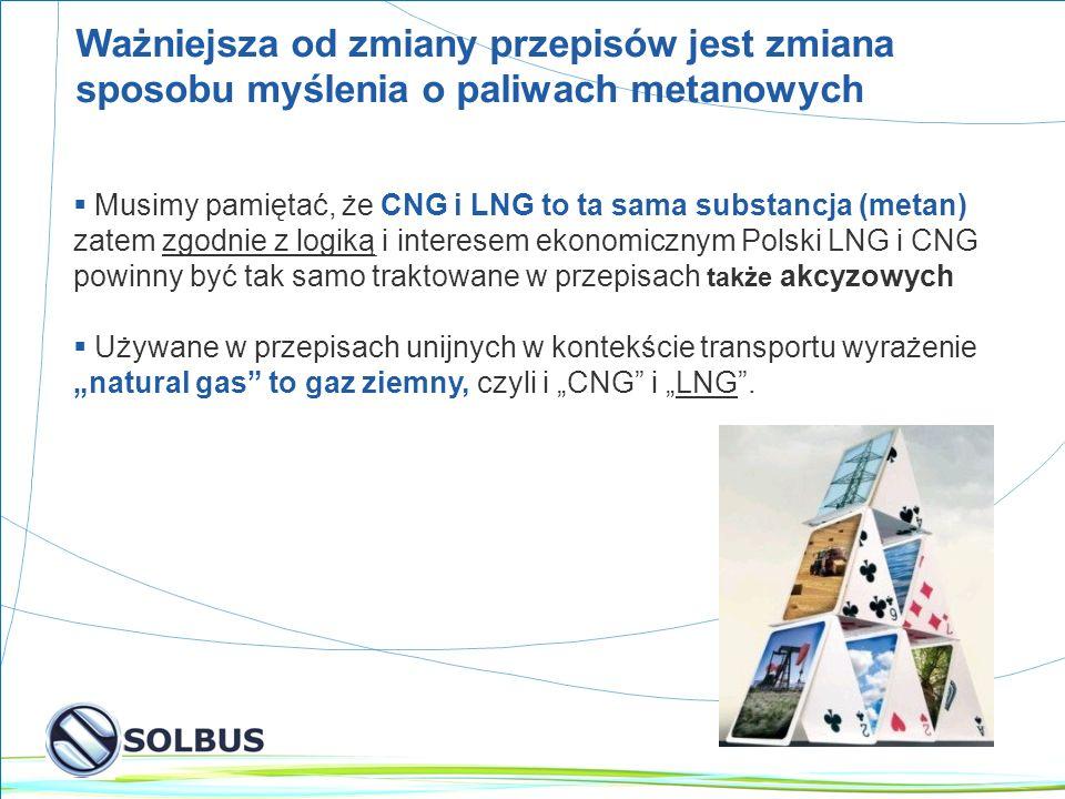 13 Ważniejsza od zmiany przepisów jest zmiana sposobu myślenia o paliwach metanowych Musimy pamiętać, że CNG i LNG to ta sama substancja (metan) zatem zgodnie z logiką i interesem ekonomicznym Polski LNG i CNG powinny być tak samo traktowane w przepisach także akcyzowych Używane w przepisach unijnych w kontekście transportu wyrażenie natural gas to gaz ziemny, czyli i CNG i LNG.