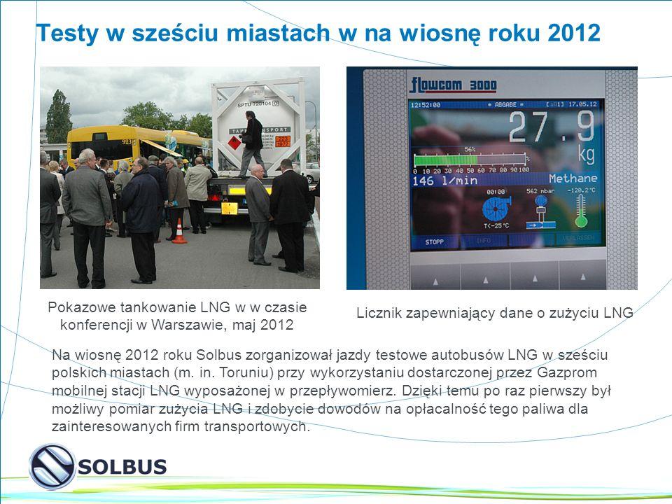 4 Testy w sześciu miastach w na wiosnę roku 2012 Pokazowe tankowanie LNG w w czasie konferencji w Warszawie, maj 2012 Licznik zapewniający dane o zużyciu LNG Na wiosnę 2012 roku Solbus zorganizował jazdy testowe autobusów LNG w sześciu polskich miastach (m.