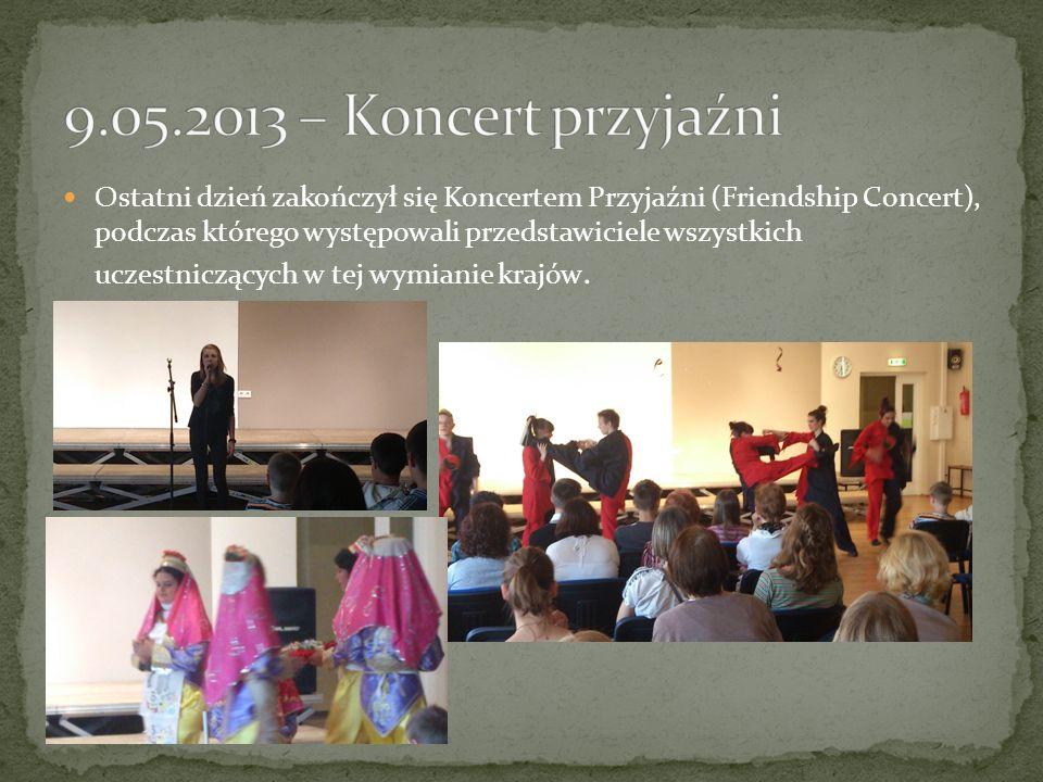 Ostatni dzień zakończył się Koncertem Przyjaźni (Friendship Concert), podczas którego występowali przedstawiciele wszystkich uczestniczących w tej wymianie krajów.
