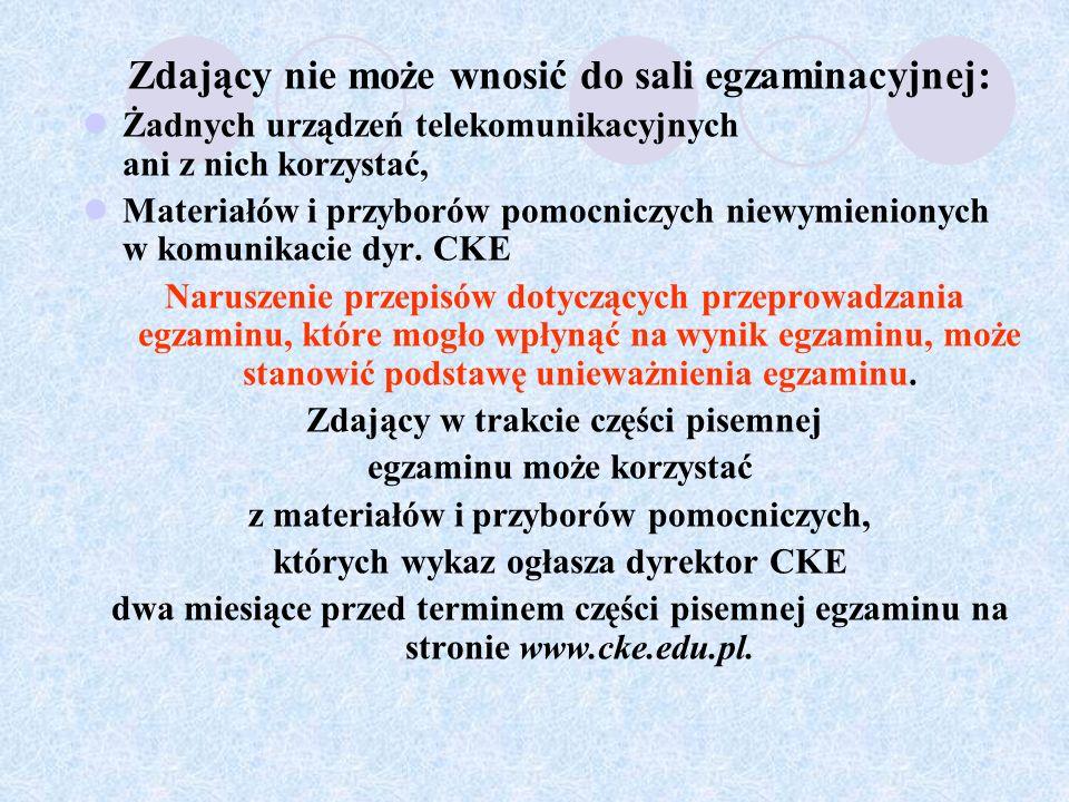 Warunki zdania egzaminu Zdający zdał egzamin maturalny, jeżeli z każdego egzaminu obowiązkowego: a) w części ustnej egzaminu z języka polskiego i języka obcego nowożytnego na poziomie podstawowym, uzyskał co najmniej 30% punktów możliwych do uzyskania za każdy egzamin, b) w części pisemnej egzaminu z języka polskiego, języka obcego nowożytnego, matematyki uzyskał co najmniej 30% punktów możliwych do zdobycia na poziomie podstawowym.