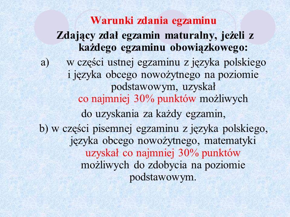 Wyniki egzaminów z przedmiotów zdawanych jako dodatkowe nie mają wpływu na zdanie egzaminu maturalnego.
