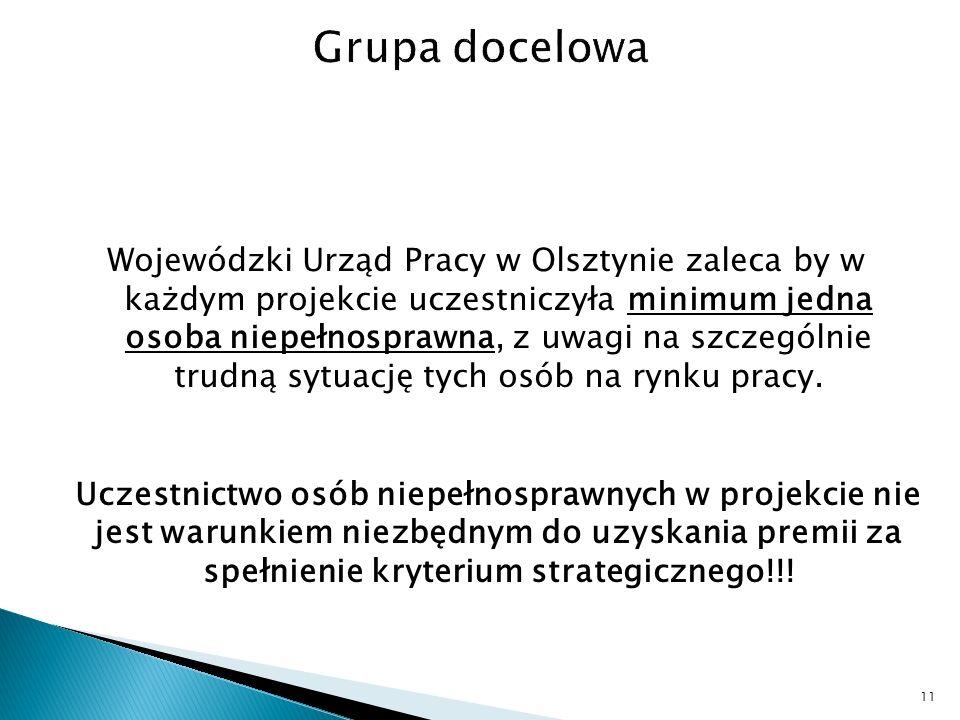 Wojewódzki Urząd Pracy w Olsztynie zaleca by w każdym projekcie uczestniczyła minimum jedna osoba niepełnosprawna, z uwagi na szczególnie trudną sytuację tych osób na rynku pracy.