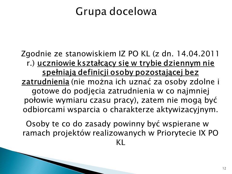 Zgodnie ze stanowiskiem IZ PO KL (z dn.