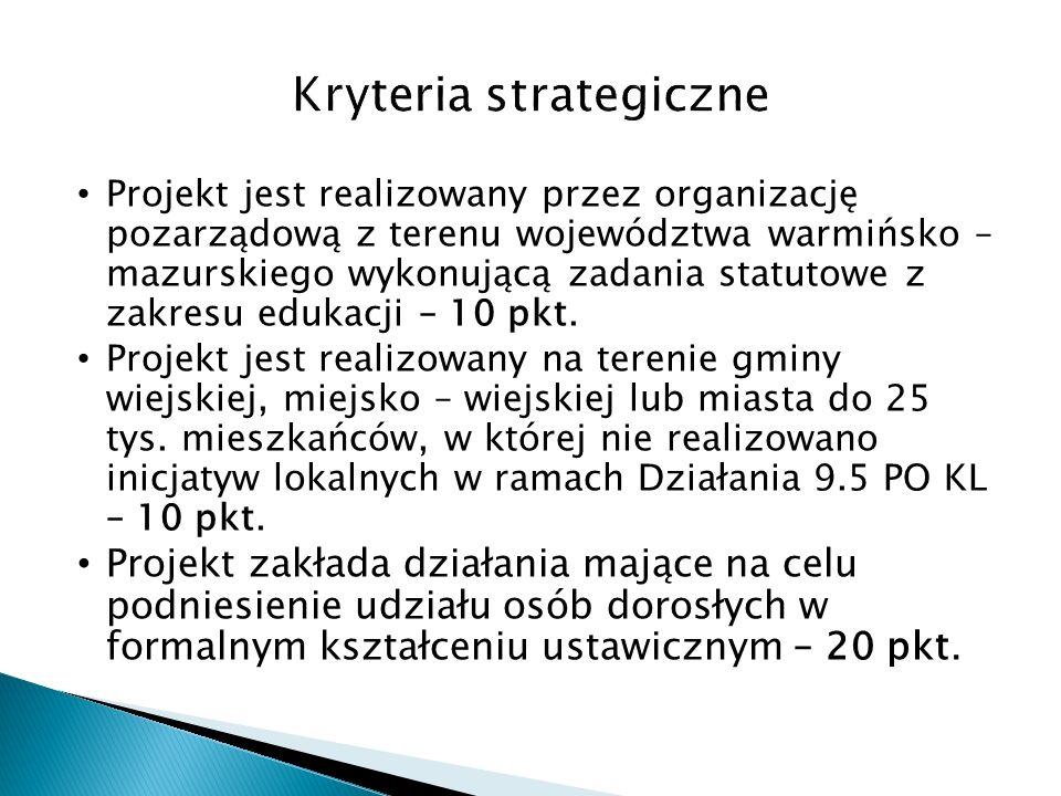 Projekt jest realizowany przez organizację pozarządową z terenu województwa warmińsko – mazurskiego wykonującą zadania statutowe z zakresu edukacji – 10 pkt.