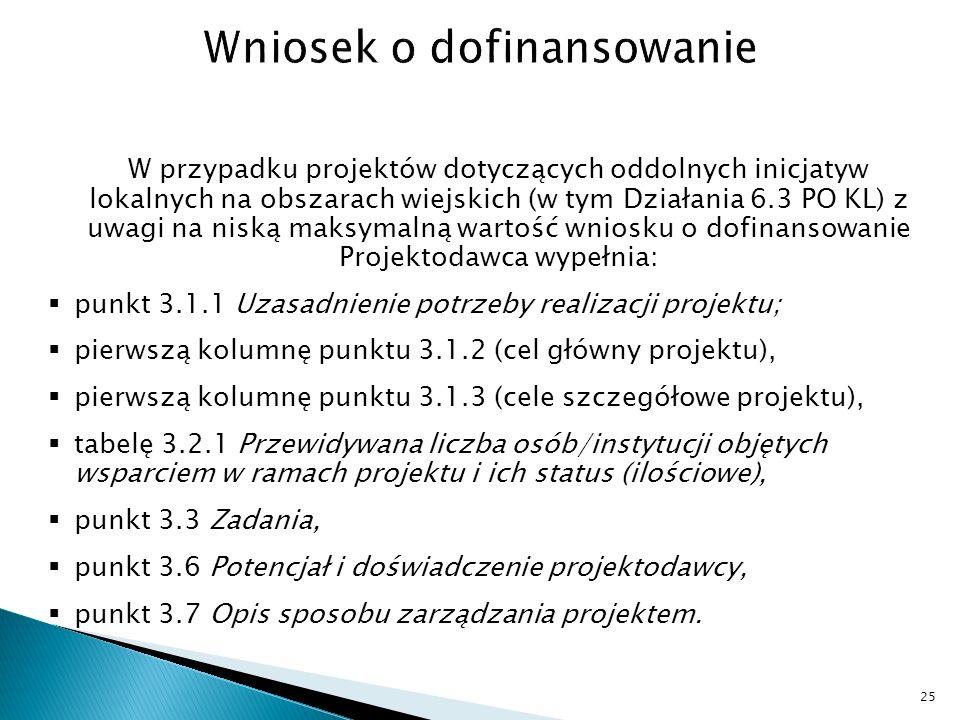 W przypadku projektów dotyczących oddolnych inicjatyw lokalnych na obszarach wiejskich (w tym Działania 6.3 PO KL) z uwagi na niską maksymalną wartość wniosku o dofinansowanie Projektodawca wypełnia: punkt 3.1.1 Uzasadnienie potrzeby realizacji projektu; pierwszą kolumnę punktu 3.1.2 (cel główny projektu), pierwszą kolumnę punktu 3.1.3 (cele szczegółowe projektu), tabelę 3.2.1 Przewidywana liczba osób/instytucji objętych wsparciem w ramach projektu i ich status (ilościowe), punkt 3.3 Zadania, punkt 3.6 Potencjał i doświadczenie projektodawcy, punkt 3.7 Opis sposobu zarządzania projektem.