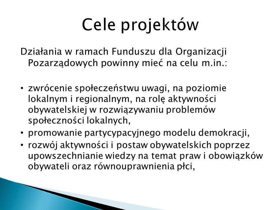 Działania w ramach Funduszu dla Organizacji Pozarządowych powinny mieć na celu m.in.: zwrócenie społeczeństwu uwagi, na poziomie lokalnym i regionalnym, na rolę aktywności obywatelskiej w rozwiązywaniu problemów społeczności lokalnych, promowanie partycypacyjnego modelu demokracji, rozwój aktywności i postaw obywatelskich poprzez upowszechnianie wiedzy na temat praw i obowiązków obywateli oraz równouprawnienia płci,