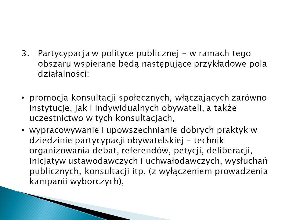 3.Partycypacja w polityce publicznej - w ramach tego obszaru wspierane będą następujące przykładowe pola działalności: promocja konsultacji społecznych, włączających zarówno instytucje, jak i indywidualnych obywateli, a także uczestnictwo w tych konsultacjach, wypracowywanie i upowszechnianie dobrych praktyk w dziedzinie partycypacji obywatelskiej - technik organizowania debat, referendów, petycji, deliberacji, inicjatyw ustawodawczych i uchwałodawczych, wysłuchań publicznych, konsultacji itp.