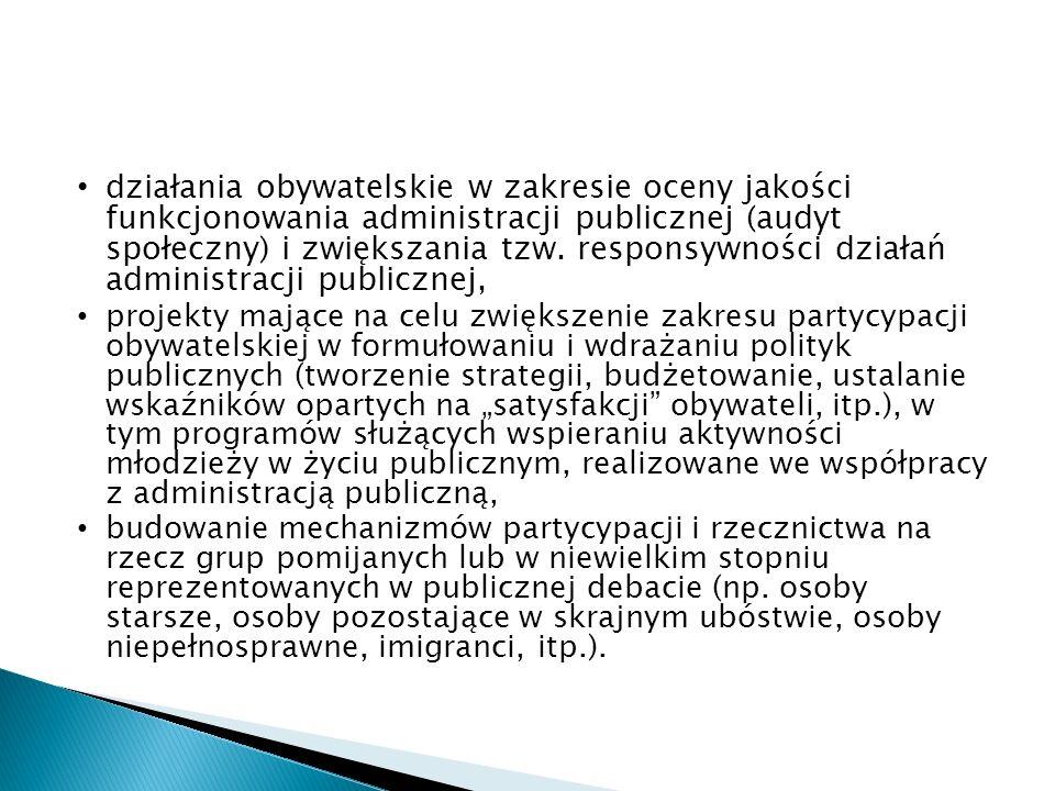 działania obywatelskie w zakresie oceny jakości funkcjonowania administracji publicznej (audyt społeczny) i zwiększania tzw.