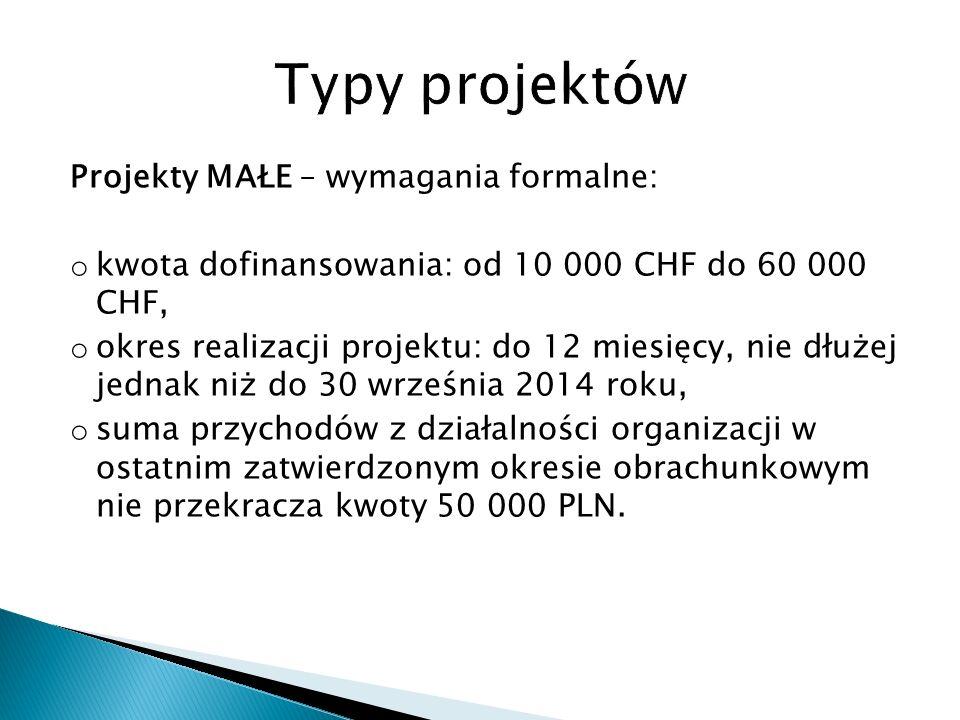 Projekty MAŁE – wymagania formalne: o kwota dofinansowania: od 10 000 CHF do 60 000 CHF, o okres realizacji projektu: do 12 miesięcy, nie dłużej jednak niż do 30 września 2014 roku, o suma przychodów z działalności organizacji w ostatnim zatwierdzonym okresie obrachunkowym nie przekracza kwoty 50 000 PLN.