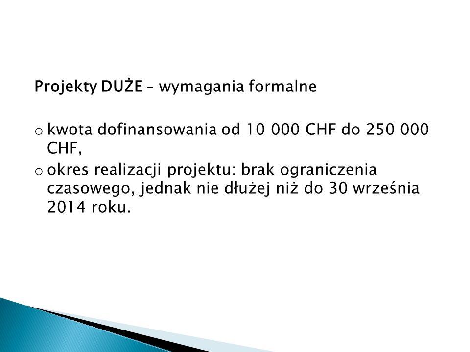 Projekty DUŻE – wymagania formalne o kwota dofinansowania od 10 000 CHF do 250 000 CHF, o okres realizacji projektu: brak ograniczenia czasowego, jednak nie dłużej niż do 30 września 2014 roku.