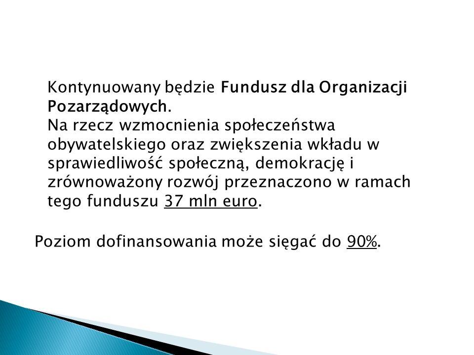Kontynuowany będzie Fundusz dla Organizacji Pozarządowych.