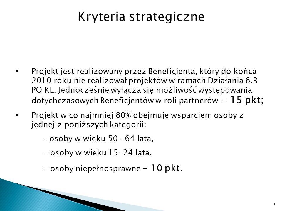 Projekt jest realizowany przez Beneficjenta, który do końca 2010 roku nie realizował projektów w ramach Działania 6.3 PO KL.