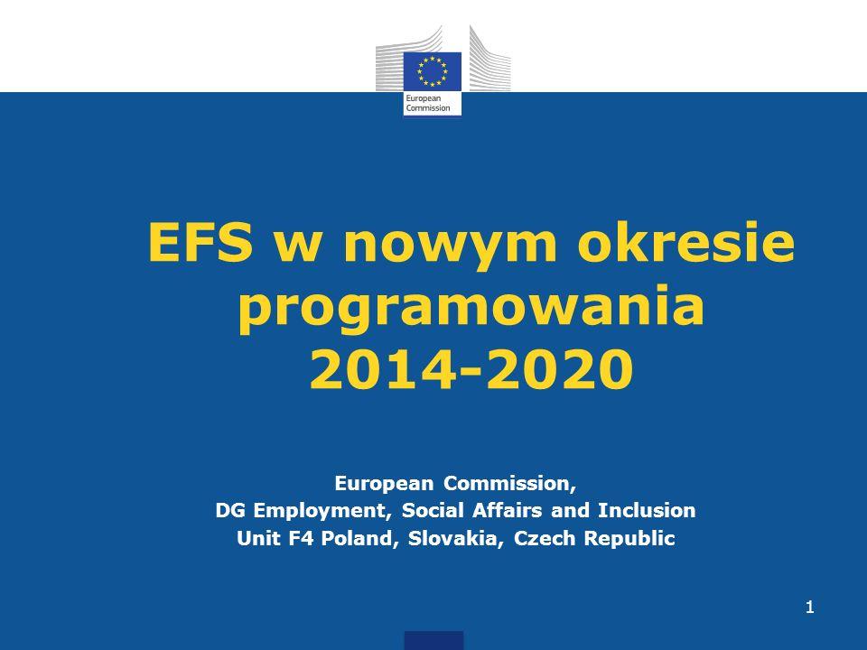 European Commission, DG Employment, Social Affairs and Inclusion Unit F4 Poland, Slovakia, Czech Republic 1 EFS w nowym okresie programowania 2014-202