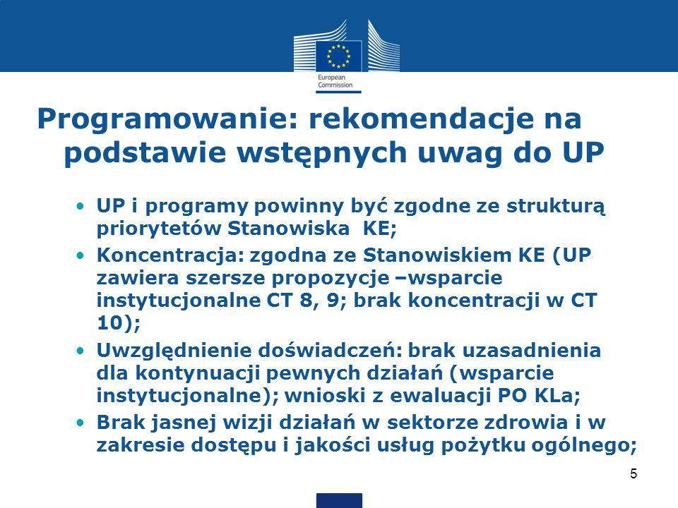 Programowanie: rekomendacje na podstawie wstępnych uwag do UP UP i programy powinny być zgodne ze strukturą priorytetów Stanowiska KE; Koncentracja: z