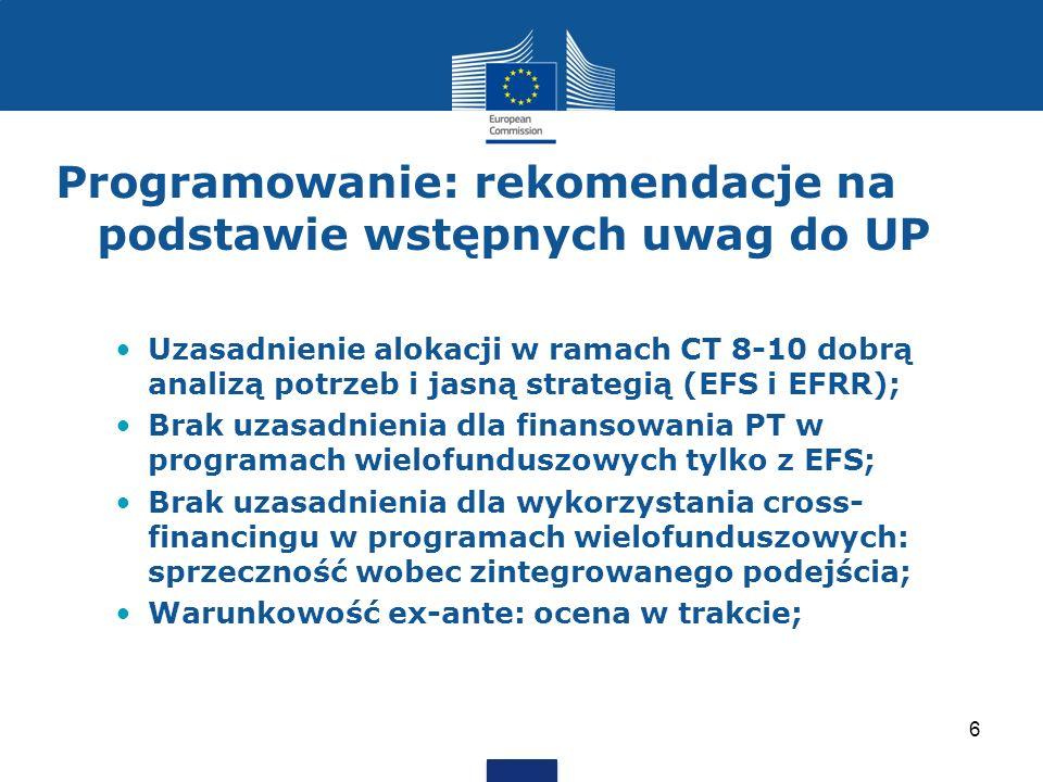 Programowanie: rekomendacje na podstawie wstępnych uwag do UP Uzasadnienie alokacji w ramach CT 8-10 dobrą analizą potrzeb i jasną strategią (EFS i EF
