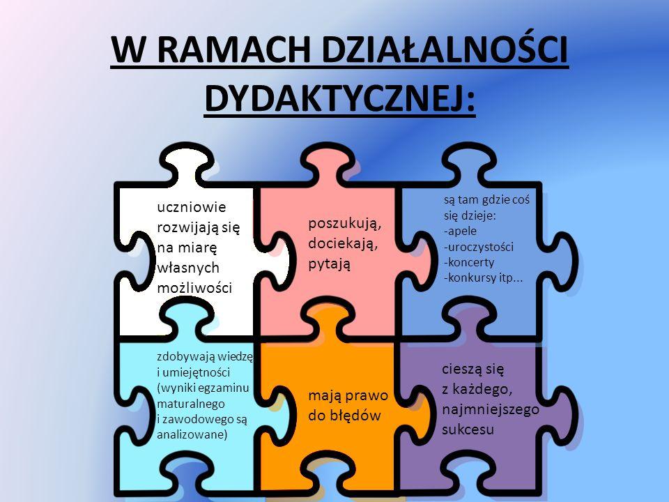 W RAMACH DZIAŁALNOŚCI DYDAKTYCZNEJ: uczniowie rozwijają się na miarę własnych możliwości zdobywają wiedzę i umiejętności (wyniki egzaminu maturalnego