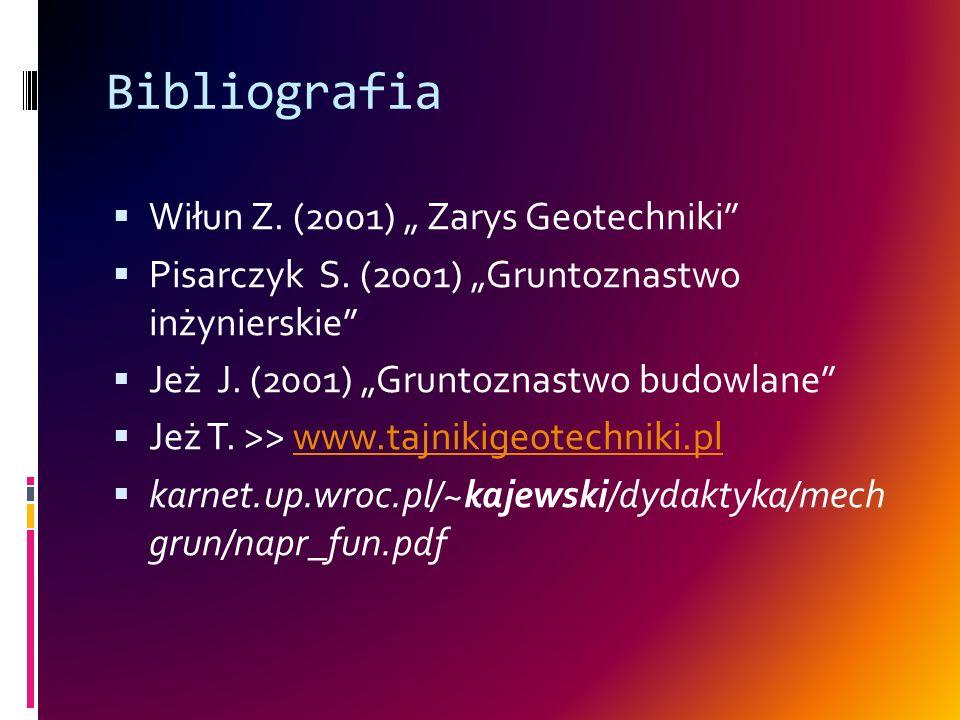 Bibliografia Wiłun Z. (2001) Zarys Geotechniki Pisarczyk S. (2001) Gruntoznastwo inżynierskie Jeż J. (2001) Gruntoznastwo budowlane Jeż T. >> www.tajn