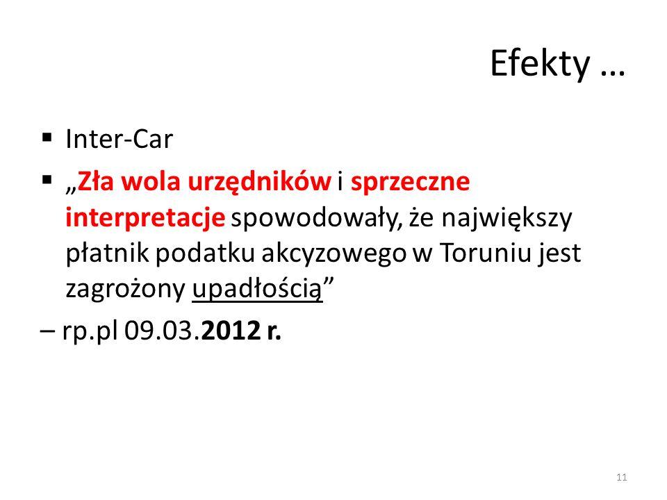 Efekty … Inter-Car Zła wola urzędników i sprzeczne interpretacje spowodowały, że największy płatnik podatku akcyzowego w Toruniu jest zagrożony upadłością – rp.pl 09.03.2012 r.