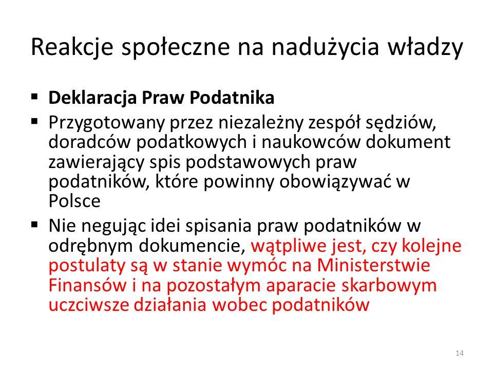 Reakcje społeczne na nadużycia władzy Deklaracja Praw Podatnika Przygotowany przez niezależny zespół sędziów, doradców podatkowych i naukowców dokument zawierający spis podstawowych praw podatników, które powinny obowiązywać w Polsce Nie negując idei spisania praw podatników w odrębnym dokumencie, wątpliwe jest, czy kolejne postulaty są w stanie wymóc na Ministerstwie Finansów i na pozostałym aparacie skarbowym uczciwsze działania wobec podatników 14