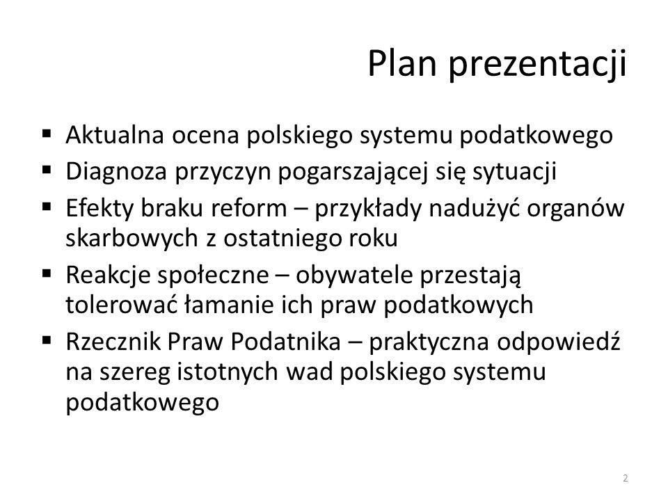 Plan prezentacji Aktualna ocena polskiego systemu podatkowego Diagnoza przyczyn pogarszającej się sytuacji Efekty braku reform – przykłady nadużyć organów skarbowych z ostatniego roku Reakcje społeczne – obywatele przestają tolerować łamanie ich praw podatkowych Rzecznik Praw Podatnika – praktyczna odpowiedź na szereg istotnych wad polskiego systemu podatkowego 2