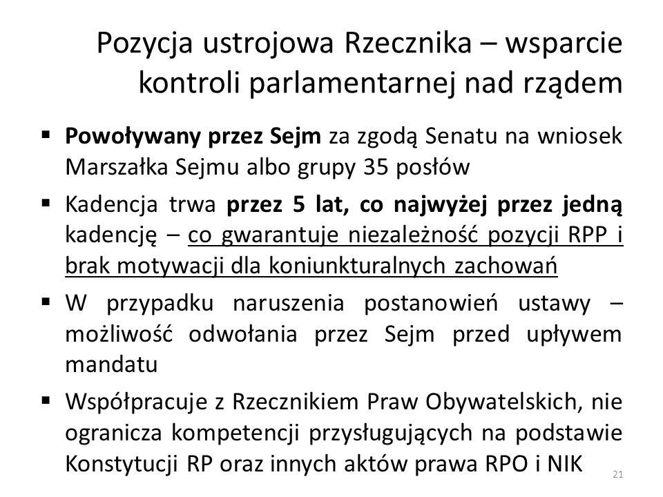 Pozycja ustrojowa Rzecznika – wsparcie kontroli parlamentarnej nad rządem Powoływany przez Sejm za zgodą Senatu na wniosek Marszałka Sejmu albo grupy 35 posłów Kadencja trwa przez 5 lat, co najwyżej przez jedną kadencję – co gwarantuje niezależność pozycji RPP i brak motywacji dla koniunkturalnych zachowań W przypadku naruszenia postanowień ustawy – możliwość odwołania przez Sejm przed upływem mandatu Współpracuje z Rzecznikiem Praw Obywatelskich, nie ogranicza kompetencji przysługujących na podstawie Konstytucji RP oraz innych aktów prawa RPO i NIK 21