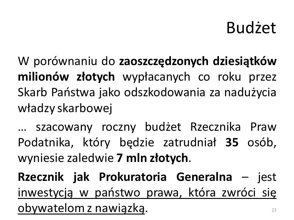 Budżet W porównaniu do zaoszczędzonych dziesiątków milionów złotych wypłacanych co roku przez Skarb Państwa jako odszkodowania za nadużycia władzy skarbowej … szacowany roczny budżet Rzecznika Praw Podatnika, który będzie zatrudniał 35 osób, wyniesie zaledwie 7 mln złotych.