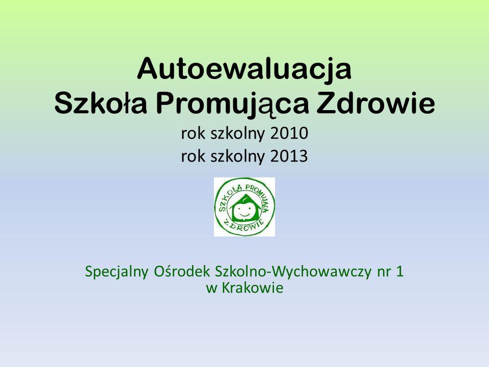 Autoewaluacja Szko ł a Promuj ą ca Zdrowie rok szkolny 2010 rok szkolny 2013 Specjalny Ośrodek Szkolno-Wychowawczy nr 1 w Krakowie