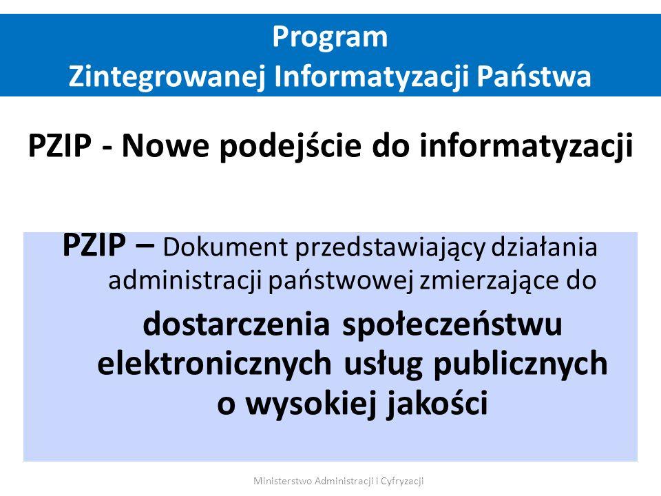 PZIP - Nowe podejście do informatyzacji PZIP – Dokument przedstawiający działania administracji państwowej zmierzające do dostarczenia społeczeństwu e