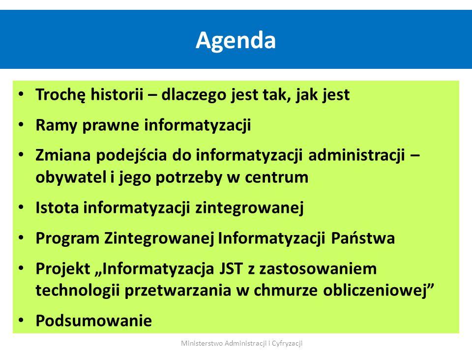 Trochę historii – dlaczego jest tak, jak jest Ramy prawne informatyzacji Zmiana podejścia do informatyzacji administracji – obywatel i jego potrzeby w